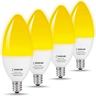LOHAS E12 Candelabra Base LED Bulb Yellow Light, 60 Watt Equivalent Light, 6W Ceiling Fan with Lights, Bug Lights 2000K Chandelier LED, 550 Lumens Decorative Bedroom Lighting, Non-Dimmable(4 Pack)