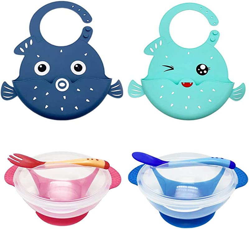 Bemagnificar Baby Feeding Set For Toddlers Waterproof Silicone Bibs Baby Suction Bowls Set With Lids Spoon And Fork Self Feeding Set Reduces Spills Adjustable Bib Easily Wipe Clean