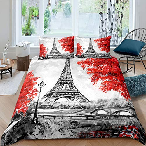 Eiffelturm Trösterbezug, Bettbezug aus rotem Ahornblatt 155x220 für Kinder Jugendliche Erwachsene, Paris City Gebäude Bettwäsche-Set France Bridge Handbemalte romantische Tagesdecke, grauweiß