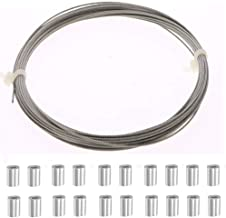 Ohaha Grinding Machine 1mm Dia 7x7 10M Long Stainless Steel Wire Rope Cable with 20pcs Wire Rope Aluminum Sleeve