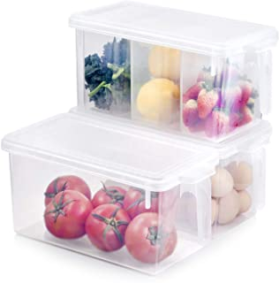 Kitchen Organizer Freezer Refrigerator Storage - 3 Sets Stackable Boxes 4.5Qt Plastic BPA Free Reusable Containers Meal Prep Food Cabinet Bin for Fridge, Pantry, Shelves, Home with Lids and Handle