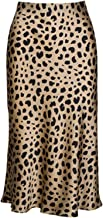 Soowalaoo High Waist Leopard Midi Skirt Hidden Elasticized Waistband Silk Satin Skirts