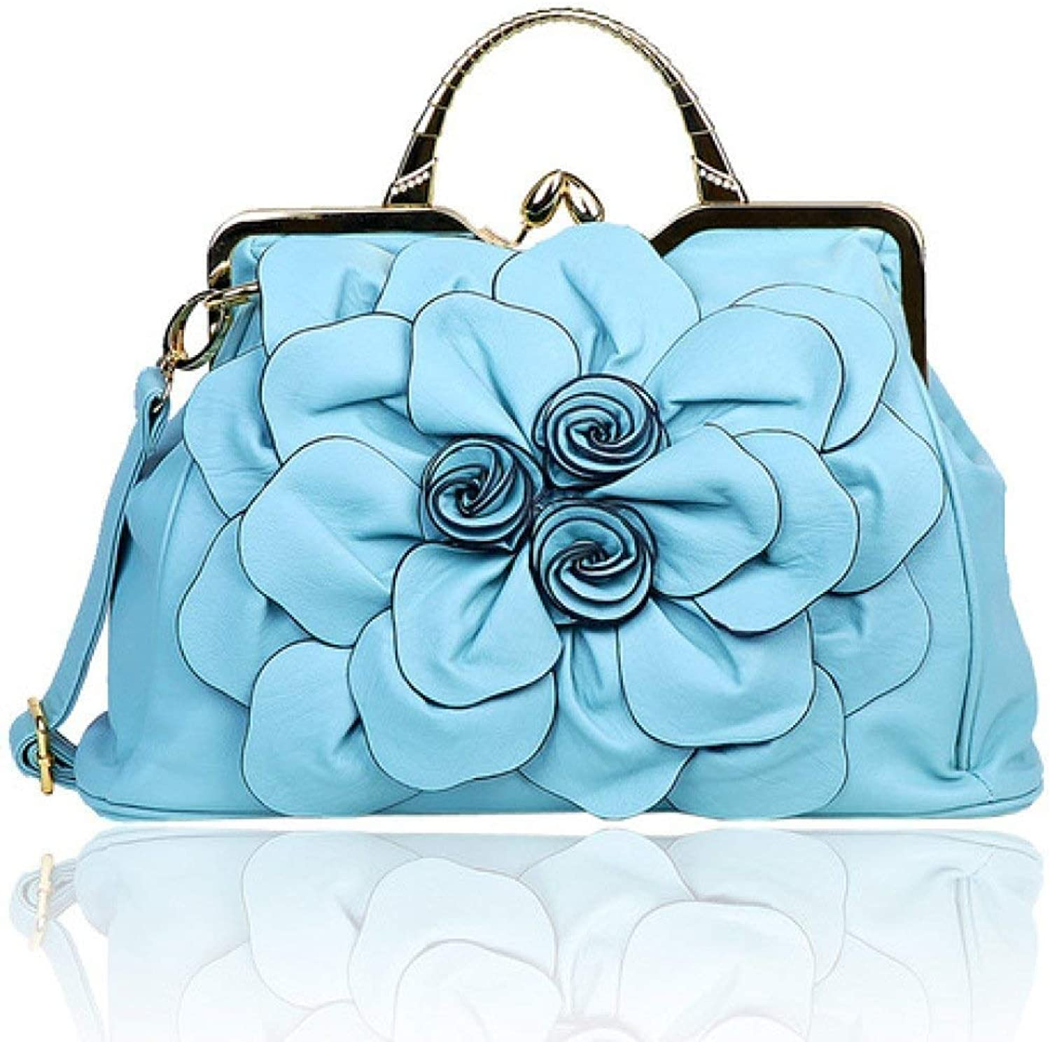 BeTTi 2019 Spring New Women's Bag with DiamondEncrusted pink Big Flower Bag Korean Version Fashion 100 Hand Bill of Lading Shoulder Crossbody Bag (color   Light bluee, Size   Size)