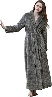 Womens Long Robe Soft Fleece Fluffy Plush Bathrobe Ladies Winter Warm Sleepwear Pajamas Top Housecoat Nightgown