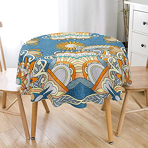 Highdi Impermeable Mantel de Redondo, 3D Bohemia impresión Antimanchas Lavable Manteles Moderno Decoración para Salón, Cocina, Comedor, Mesa, Interior y Exterior (Boho,Diámetro 130cm)
