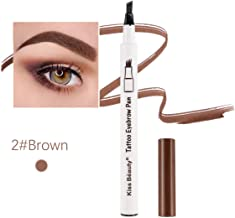 EyeBrow Tattoo Pen with 4 Tips Long-lasting Brow Gel Waterproofg Makeup Easy To Color for Eyes Makeup (Brown)