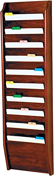 DMD Chart And File Holder Tapered Bottom Wall Mounted 10 Pocket Letter Size Mahogany Oak Wood