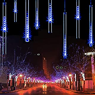 TianNorth Upgraded 30cm 8 Tubes 240 LED USB Meteor Shower Lights, 11.81 inches Ultra Bright LED Raindrop Lights, Waterproof Tubes for Christmas, Tree, Wedding, Party, Yard,etc (Blue 11.81inches)