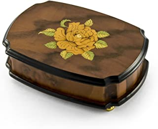 Handcrafted 18 Note Single Rose Sorrento Musical Jewelry Box - Over 400 Song Choices - Return to Sorrento (Torna a Sorrento)