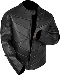 Mens Idris Cafe Racer Biker Motorcycle Leather Jacket