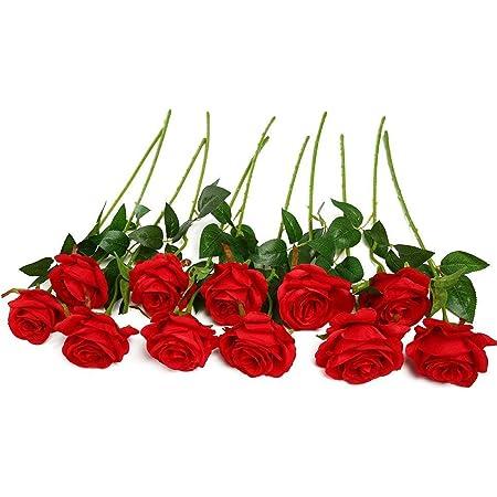 Blue JUSTOYOU 10pcs Artificial Rose Silk Flower Blossom Bride Bouquet for Home Wedding Decor