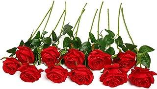 JUSTOYOU 10pcs Artificial Rose Silk Flower Blossom Bridal Bouquet for Home Wedding Decor(Red)