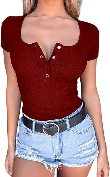 Camisetas Mujer Verano Top de Color sólido Casual para Mujer ...