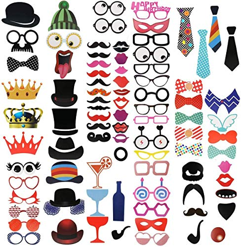 Kissral Photo Booth Props, 89 Pieces Funny Selfie Props with Sticks Costume Dress Up Accessories Photo Posing Props for…