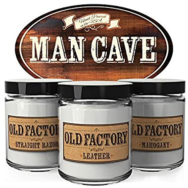 Old Factory Scented Candles - Man Cave - Set of 3: Straight Razor, Leather, and Mahogany - 3 x 4-Ounce Soy Candles - Each Votive Candle is Handmade in the USA with only the Best Fragrance Oils