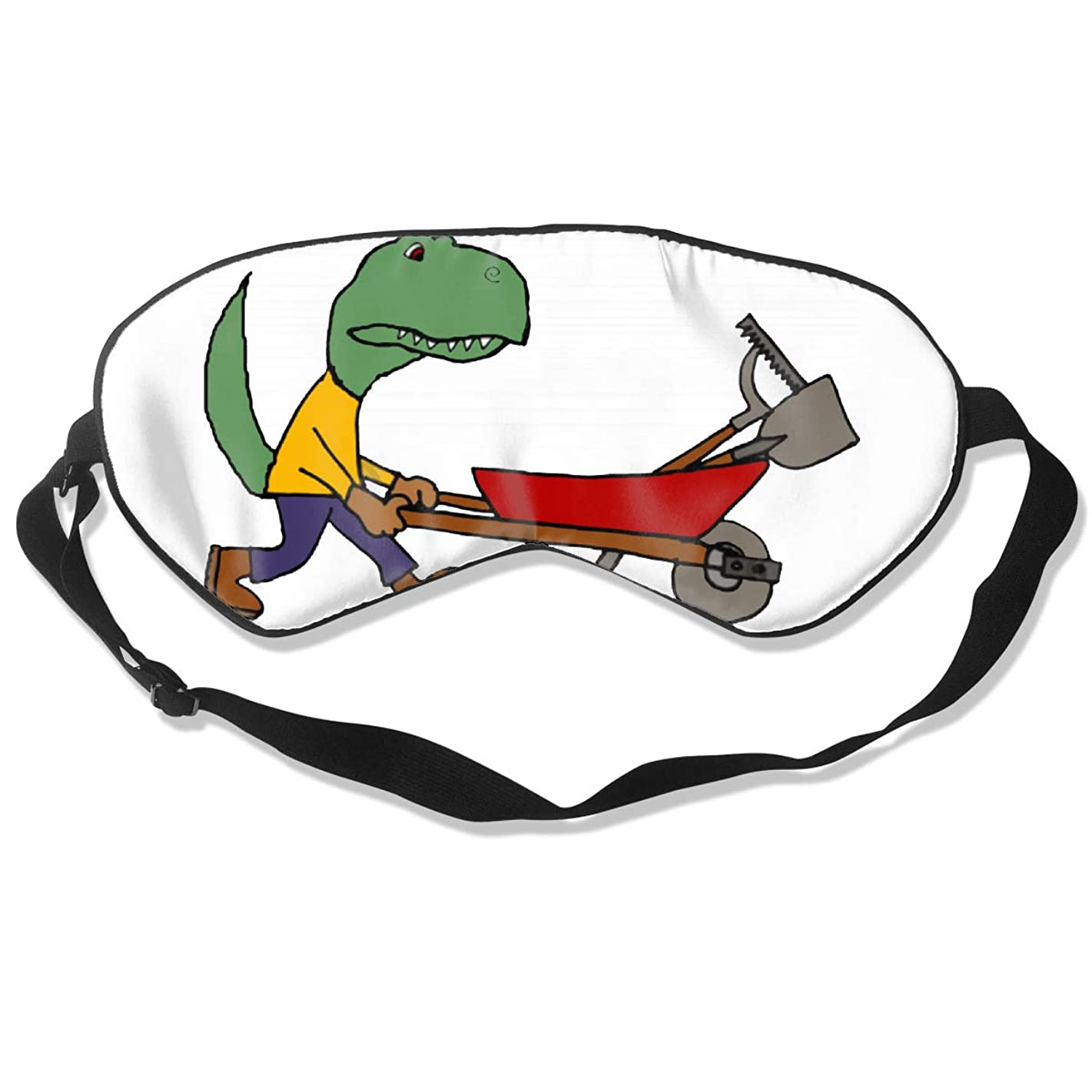 Funny T-rex Dinosaur Pushing Wheelbarrow Natural Silk Sleep Mask, Best Sleeping Mask Eye Mask Eye Cover for Travel, Nap, Meditation, Blindfold with Adjustable Strap for Men, Women
