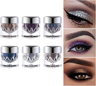 6pcs UCANBE Twinkle Dust Silver Eyeshadow Set Highlighter Palette Duochrome Glitter Shimmer Shine Sparkle Eye Shadow Loose Pigment Powder Metallic Eyes Makeup Kit