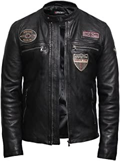 Mens Genuine Leather Biker Jacket Lambskin Designer Style
