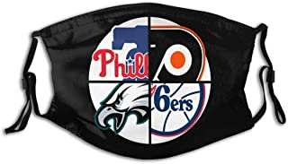 Funny Face Mask Bandana Scarf Philly Sports Teams Reusable Filters Kids Boy Girl Washable Black