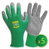 GRÜNTEK 5 Paires (L/9) Gants de Jardin et Protection Travail en Fibre de Polyester avec revêtement en Latex