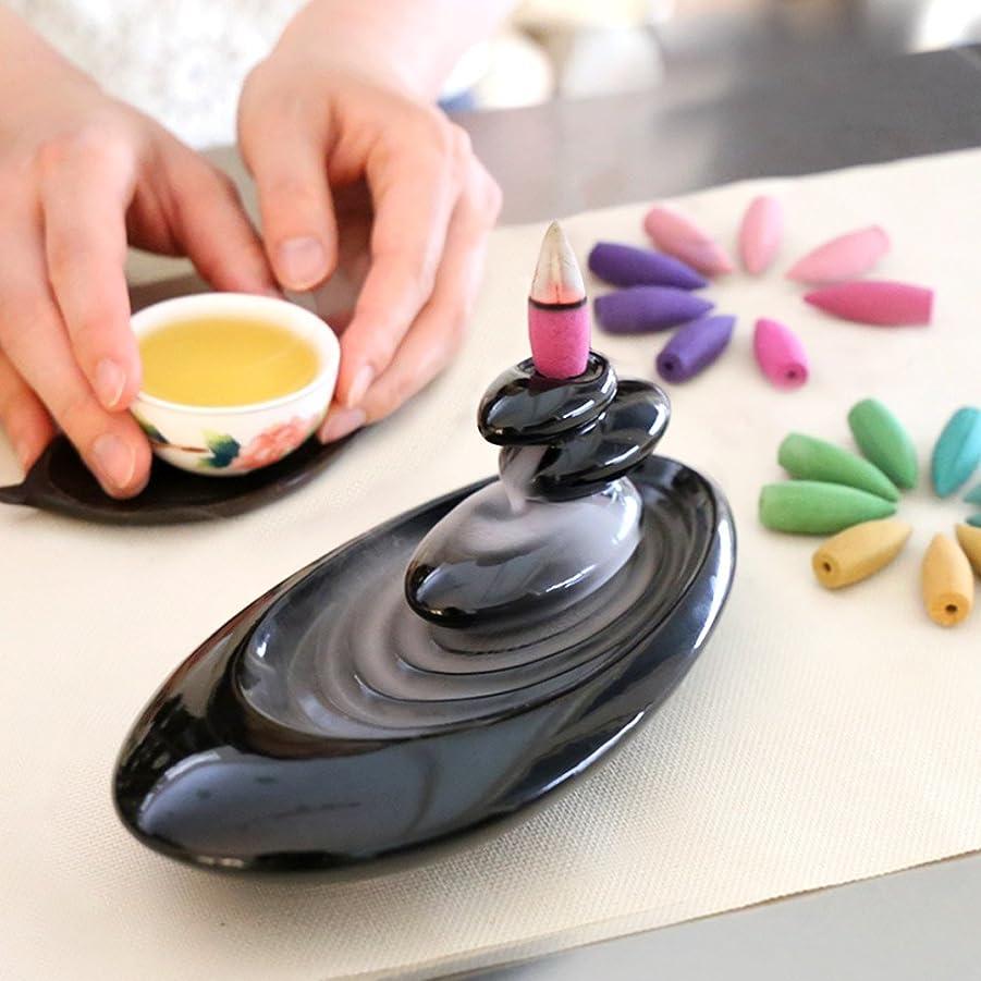 貫入温帯電話する倒流香 香炉 シンプル 6種の香り アロマ香炉 ギフトBOX仕様 アロマインセンス 逆流香 誕生日 プレゼント (誕生日カード)