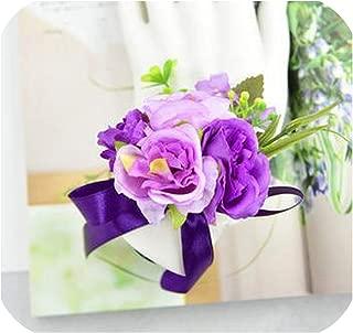 Handmade Wedding Corsages Groom Boutonniere Bride Bridesmaid Mom Hand Wrist Flower Artificial Rose Flowers Prom Corsage Flower,Color12 Wrist Flower