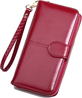 SKUDGEAR Long Bi-Fold Zipper Wallet Large Capacity PU Leather Clutch Women's Wristlet (Wine Red)