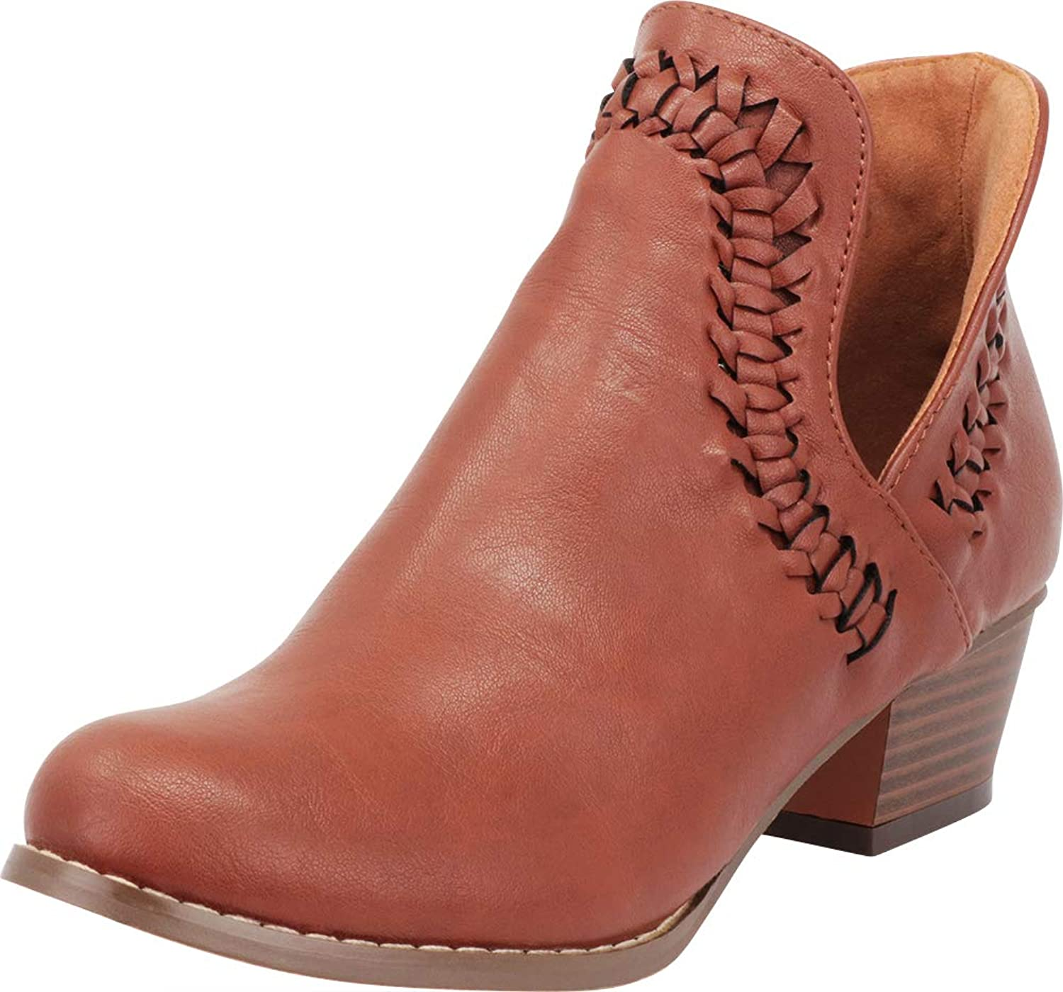 Cambridge Select Women's Western Whipstitch Side V Cutout Chunky Stacked Block Heel Ankle Bootie