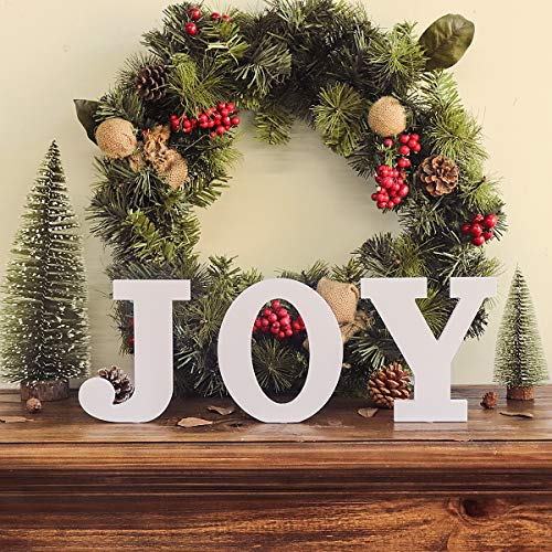 Ivenf Christmas Joy Table Decoration 3 Pcs, Mantel Fireplaces Table Sign for Xmas New Year Winter Holiday Home Decorations, White