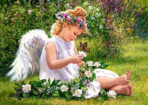 alles-meine.de GmbH Puzzle 500 Teile - Engel mit Schmetterling - Schmetterlingsengel - romantisch Mädchen Kinder - Blumenfee im Wald / Engelchen Flieder Blumenkranz
