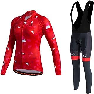 Uriah Women's Cycling Jersey Bib Pants Black Sets Long Sleeve Reflective