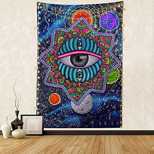 Tapiz de fiesta de planeta Seta psicodélica Alien Tercer ojo Tapiz de pared Espacio de galaxia Colgante de pared Estrellas Relámpago Tapiz Dormitorio Estera de yoga Decoración para el hogar Regalo