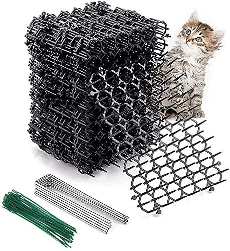 Maalr Tappetino Anti-Gatto,Tappetino Cat Scat Tappetino deterrente per Cani con Picchi Rete Anti-Gatto Tappo di scavo Strumenti di Protezione da Giardino Dispositivi deterrenti, Nero,20X15CM/12Pezzi