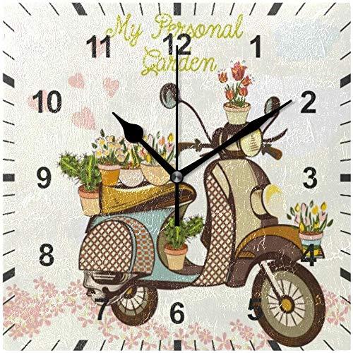 LKLFC Wanduhr Nicht tickend Stille Wanduhr Nette Garten Fahrrad Blumen Herzen Uhr Home Schlafzimmer Wohnzimmer Büro Büro Schule Dekor