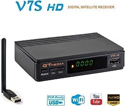 GT MEDIA V7S HD Receptor TV Satélite DVB-S2 Decodificador Digital Satelite con Antena WiFi USB, 1080P Full HD Soporte PVR CCcam Youtube (Freesat V7 HD Mejorada)