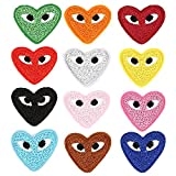 Iron On Patches for Clothing, Colorful Funny Heart Shape Love Eyes Embroidered Sew On Applique Decorative Patches, 12PCS