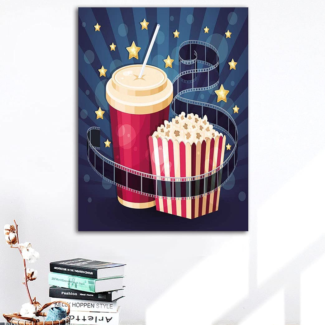 Amazing Cinema 25% OFF Decor Artwork Canvas Award Bo Popcorn with Illustration