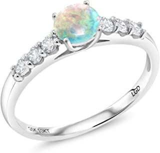 Gem Stone King 0.76 Ct Cabochon White Simulated Opal G-H Lab Grown Diamond 10K White Gold Ring