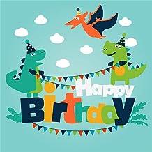 BuEnn 5x5ft Fondo de Fiesta para niños Dibujos Animados Dinosaurios Divertidos Fondo de Foto Cielo Azul Nubes Feliz cumpleaños Banner Photo Booth Props Fondo de Pantalla Decoración