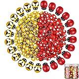 Jetec 400 Abejas Amarillas Mariquitas Rojas de Madera Hoja Autoadhesiva Artesanías DIY Hechas a Mano Álbum de Recortes Lindo de Dibujos Animados Decoración de Fiesta Accesorios para Manualidades