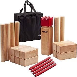 GSE Games & Sports Expert Premium Oak Hardwood Kubb/Molkky Yard Throwing Game Set. Outdoor Backyard Lawn Toss Game for Kids & Adults