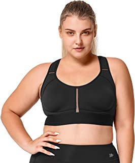 Yvette Women Plus Size High Impact No Bounce Wirefree Hollow Out Racerback Sports Bra