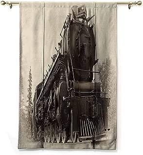 SEMZUXCVO Simple Curtain Steam Engine Antique Northren Express Train Canada Railways Photography Freight Machine Print Darkening and Thermal Insulating W48 x L72 Black Grey