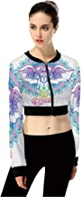 Design Colorful PatternWomen's Casual Zip Up Long Sleeve Crop Top Jacket Sweatshirt for Daily Life,S