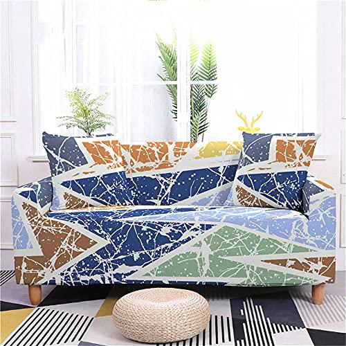 Funda Sofas 2 y 3 Plazas Geometría Azul Fundas para Sofa con Diseño Universal,Cubre Sofa Ajustables,Fundas Sofa Elasticas,Funda de Sofa Chaise Longue,Protector Cubierta para Sofá