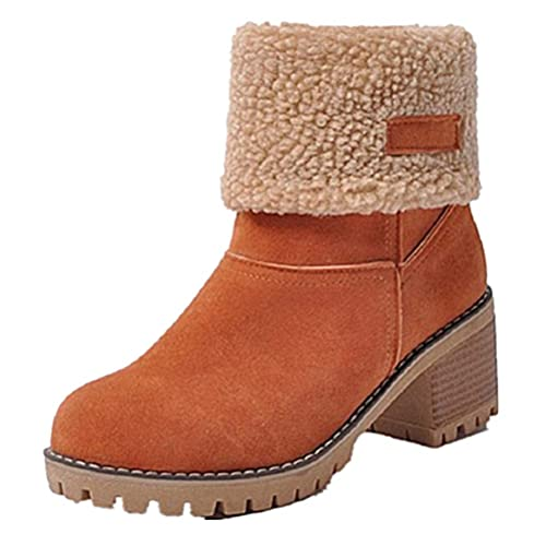 24f8f6d0f427 Winter Suede Boots Womens Ladies Fur Chunky Block Elegant Heel Lined Ankle  Booties Outdoor Snow Boots