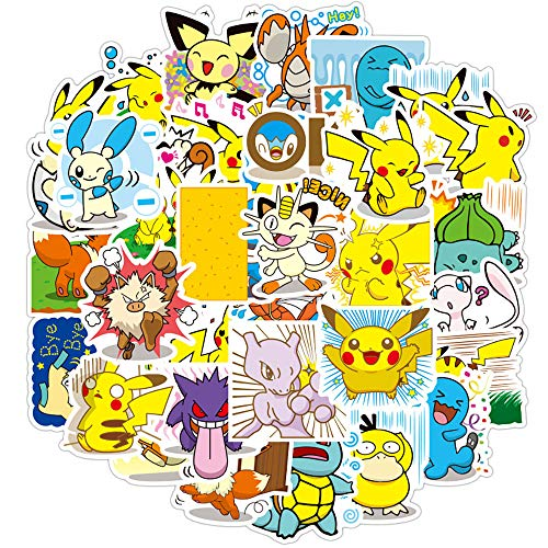 80 Pcs Stickers for Pokemon,Aesthetic Stickers for Water Bottle Laptop Skateboard Luggage Flask Computer Car Phone,Cool Anime Trendy Vinly Waterproof Stickers for Teens Boys Kids Girls.