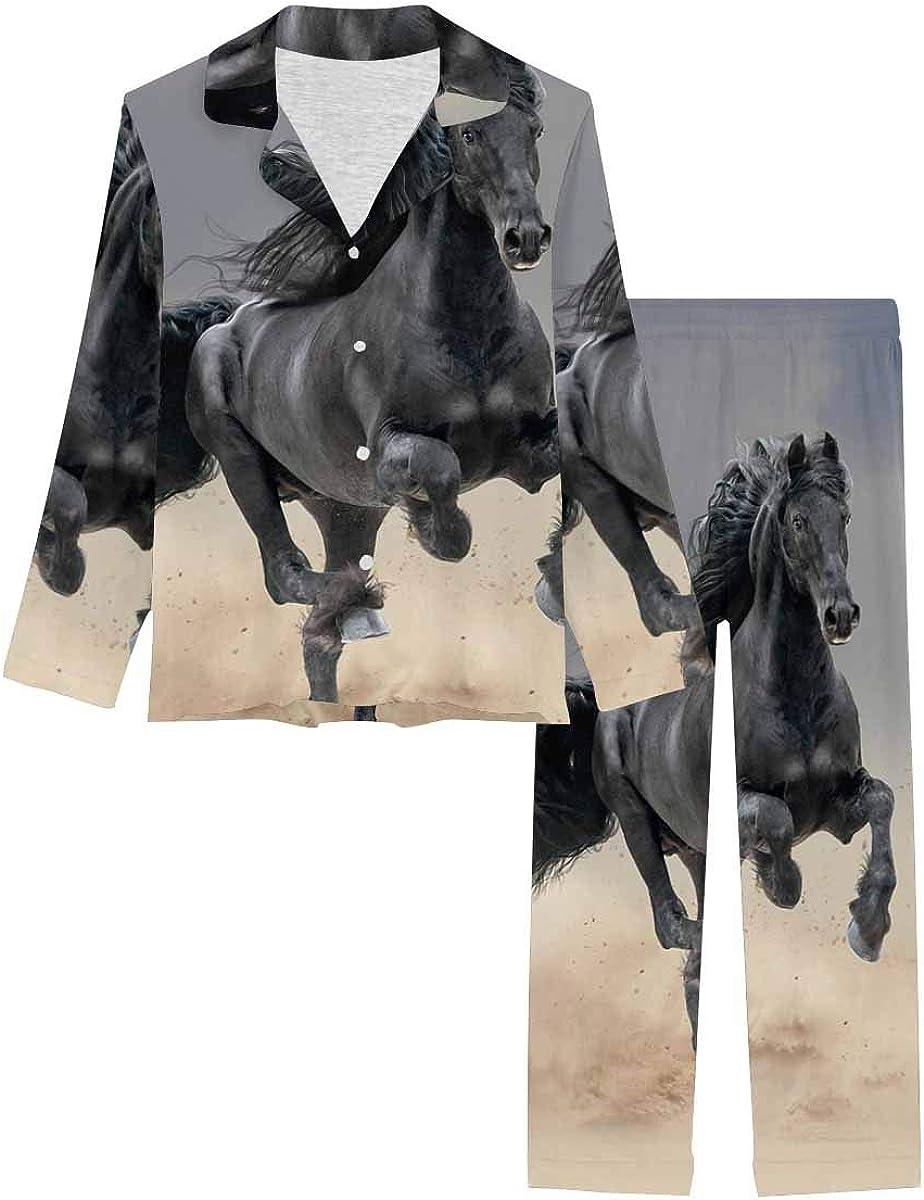 InterestPrint Women's Pajamas Set Button Down Sleepwear with Long Pants Black Friesian Horse Running in Desert