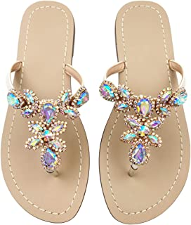 Hinyyrin Available in 13 Colors,Rhinestone Sandals,Women's Flat Sandals,Flip Flop,Jeweled Sandals