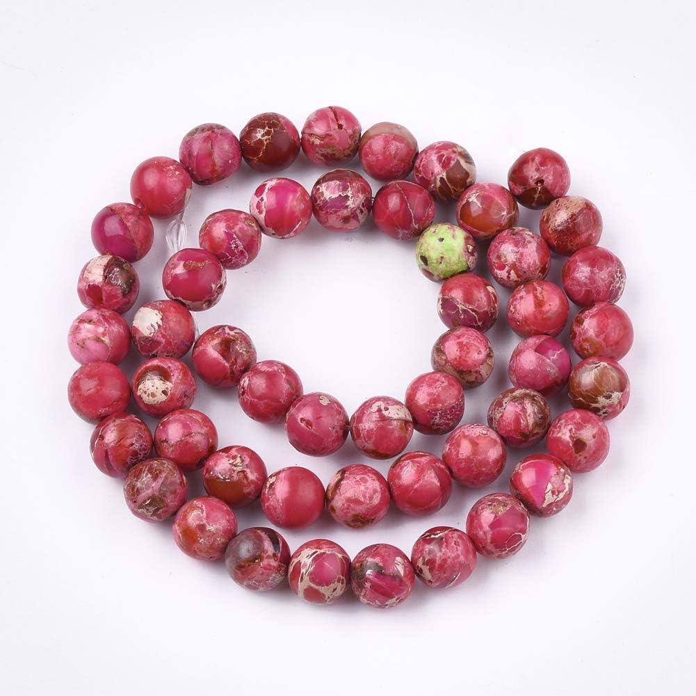 Perles de perles en pierre dempereur naturelle de 8 mm Plusieurs couleurs Accessoires de bricolage Pierres pr/écieuses rondes pour la fabrication de bijoux Bleu 1 47-50 pi/èces//brin